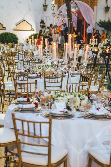 Candlelit outdoor reception