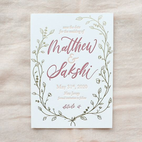 Gold Foil Floral Save the Date