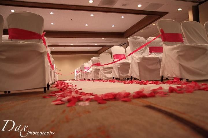 Wedding chairs and petals