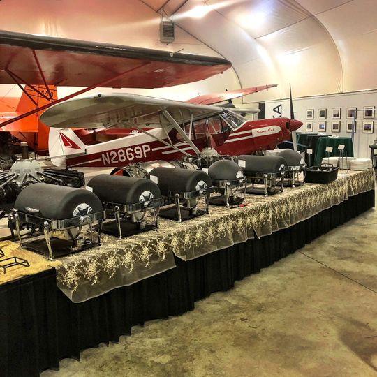 Odom Hangar catering setup