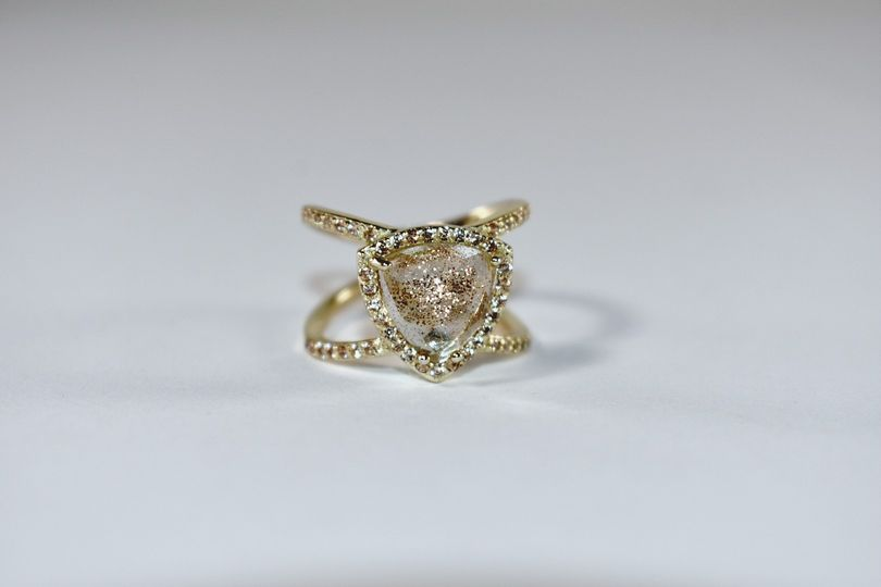 Gold Dusted Triangle Ring