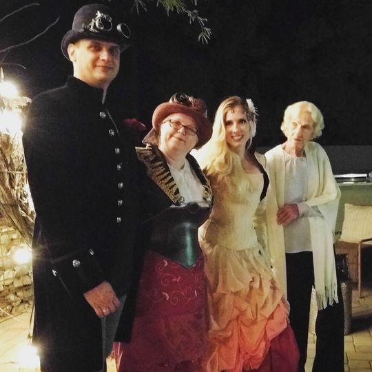 A wonderful Steampunk wedding. Rev. Crystal does wear costumes for themed weddings!