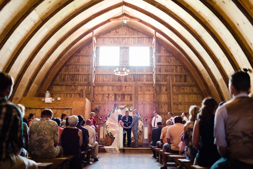 Ceremony inside the barn