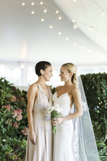 Bride and Maid of Honor in Mountauk NY photo credit Cly by Matthew NYC