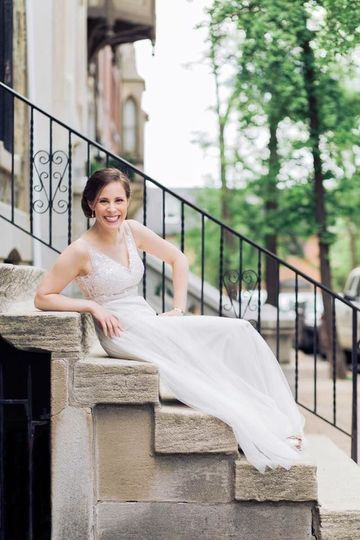 Bride on the steps