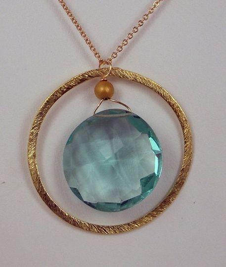 Gold circle necklace with aqua quartz! $45