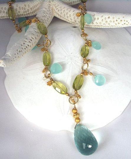 Aqua crystal quartz, citrine and chalcedony.  Hand-wire wrapped.