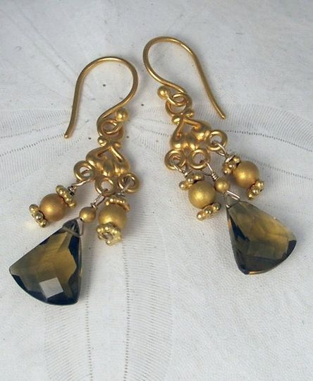 Whiskey Topaz Earrings with Gold Vermeill 24kt. $40