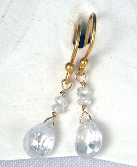 Crystal and cz on gold vermeill.  Custom colors available for  your bridesmaids.  Please call...