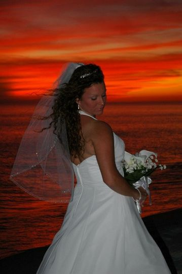 Bride during sunset