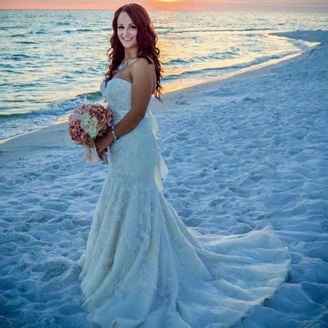 Bridal gown at the beach