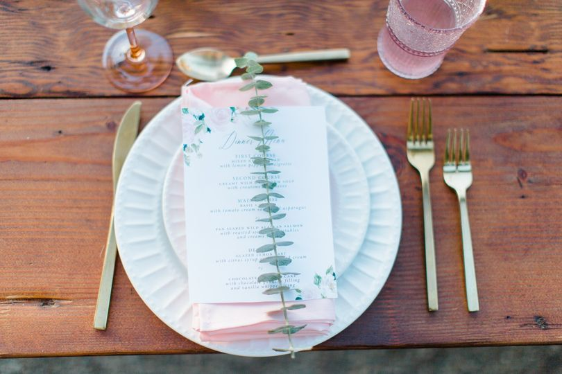 Pink Floral Wedding Menu