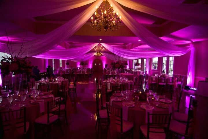 Pink and purple uplighting