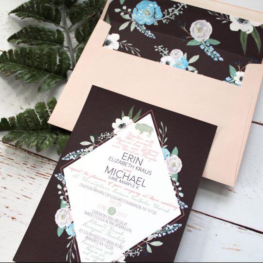 Invitation with envelope liner