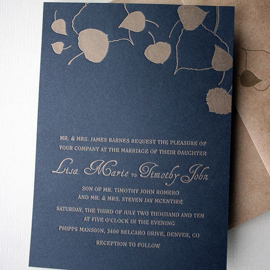letterpress wedding gold aspens