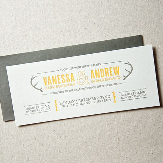 modern antlers wedding invitations1