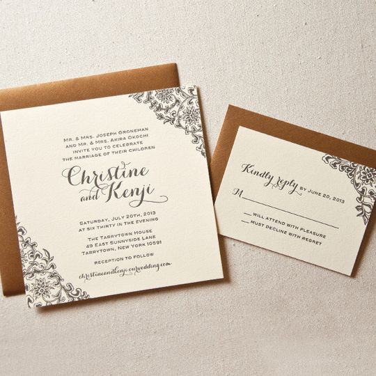 floral corners wedding invitation1