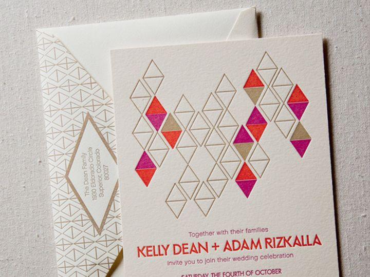 Tmx 1433887357952 Diamonds Mod Letterpress Wedding1 Boulder, CO wedding invitation