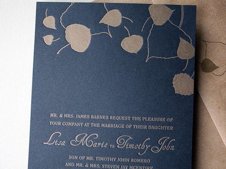 Tmx 1433887381691 Letterpress Wedding Gold Aspens Boulder, CO wedding invitation
