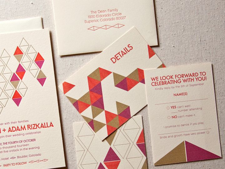 Tmx 1433887579488 Diamonds Mod Letterpress Wedding2 Boulder, CO wedding invitation