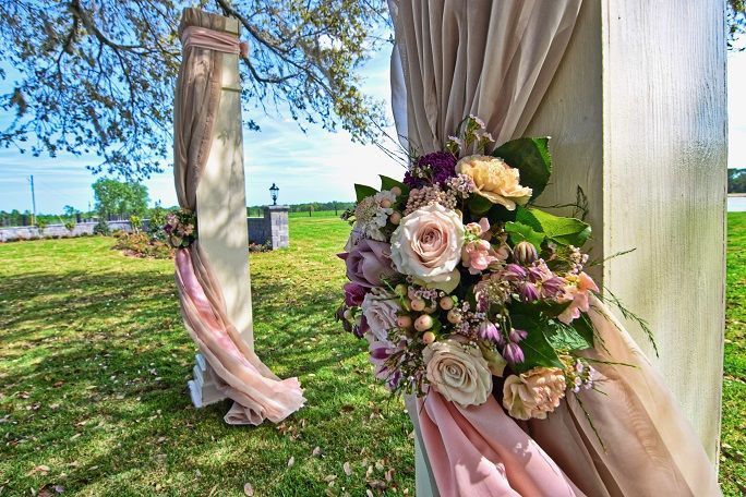 Floral decor and drapery