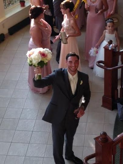The groom got the bouquet