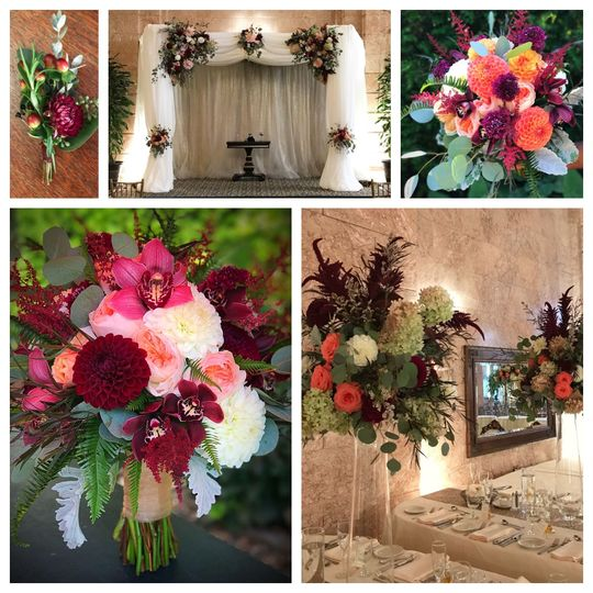 Late summer almost fall garden flower inspired wedding. Dahlias from the local farm where the focal...