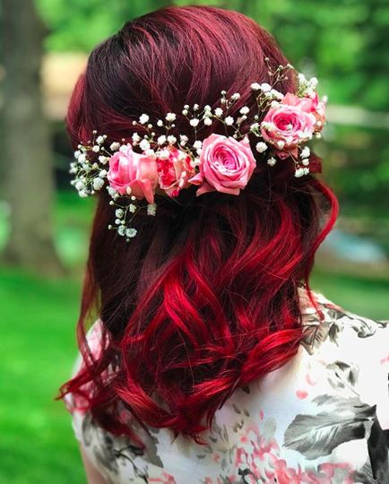 Red and flower crown