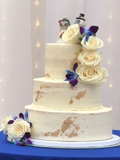 Semi-naked 3 tiered cake
