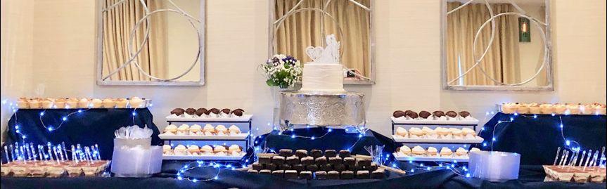 Blue decor wedding dessert bar