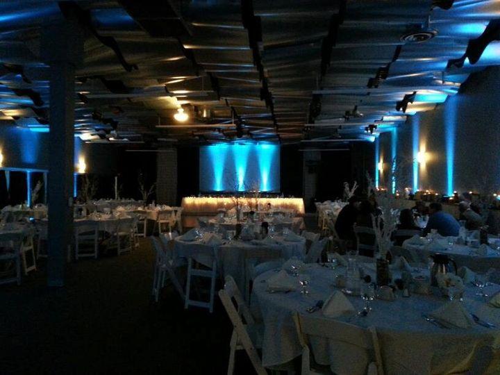 Indoor wedding reception setup