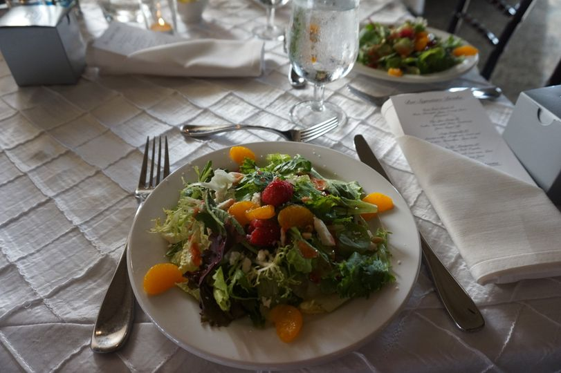 Wedding Reception. Pre-set Salads to start off the dinner hour