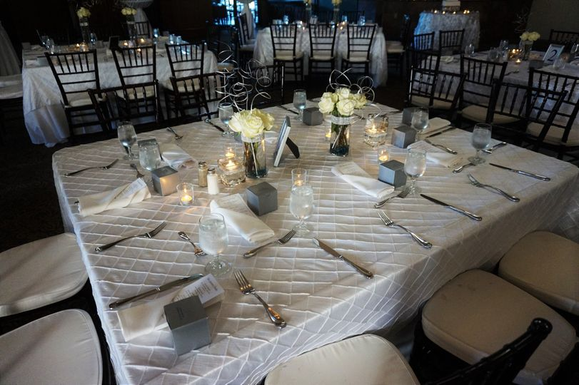 Wedding Reception with banquet tables.