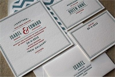 "Page Stationery ""Isabel and Edward"" wedding invitation suite in 2 color letterpress"