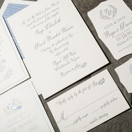 "Smock Paper ""Tensley"" wedding invitation suite shown letterpressed."
