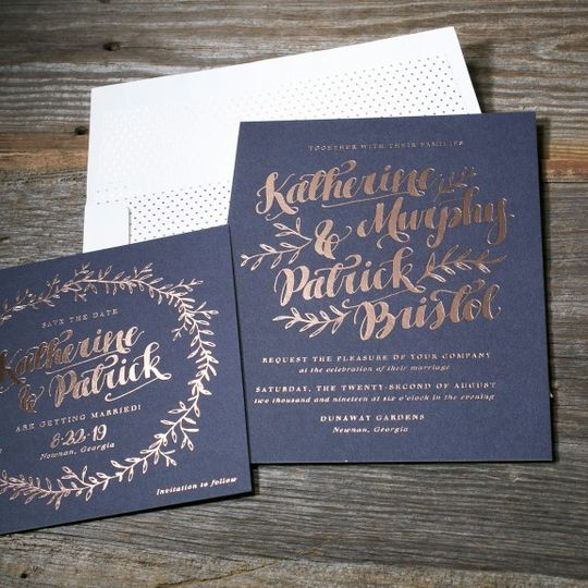 "Bella Figura ""Meryl"" save the date and wedding invitation, shown in rose gold foil."