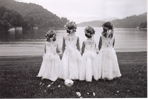 Flower girls by the lake