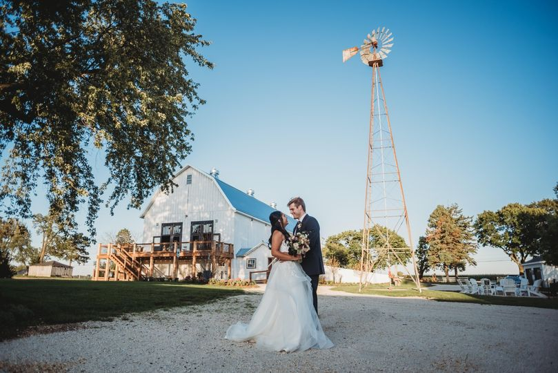 Couple in front of windmill