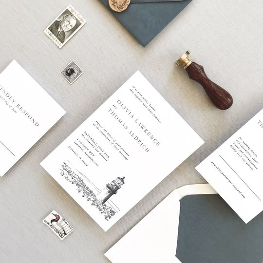 Stylish invitations with envelope