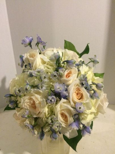Garden Roses and Hydrangea with a pop of blue