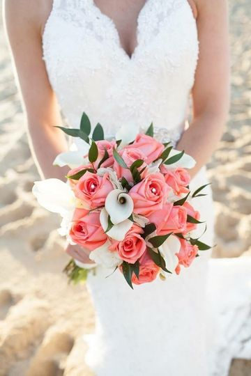 Mini Calla Lilies and Coral Roses