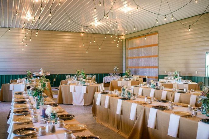 """Barn Wedding, New Bloomfield, MO, Fall 2014 8 ft and 60"""" square tables, Burlap brown tablecloths,..."""