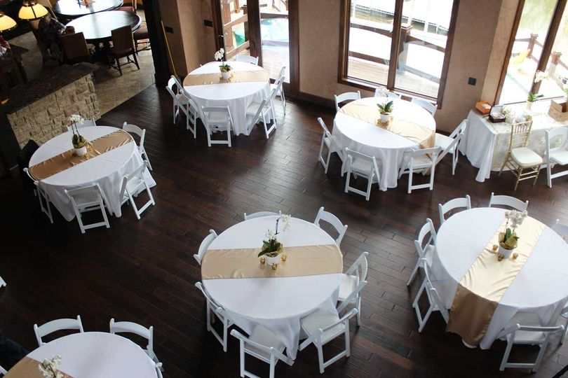 """Wedding reception at private residence, Spring 2015. 60"""" Round tables, white resin folding chairs,..."""