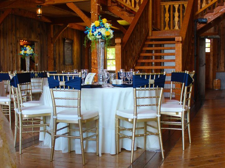 Barn Reception In Ivory, Navy Blue And Yellow.