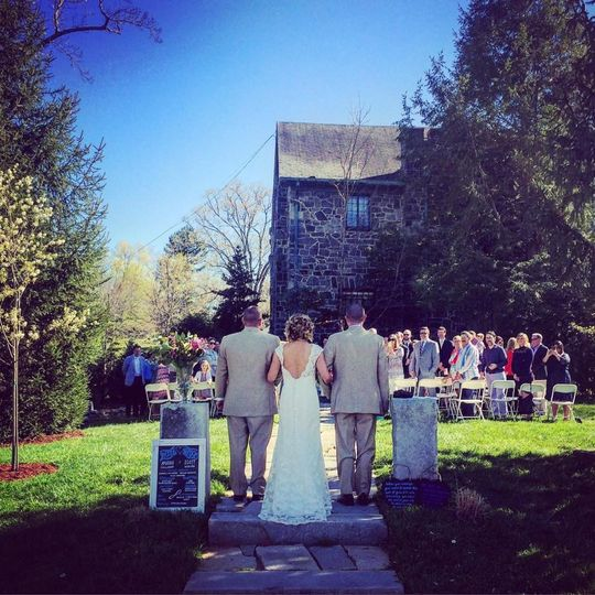 Spring ceremony in the garden at Homewood in Asheville NC. Coordination by Carolina Love Events