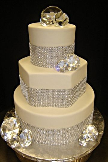 Shapely cake with ribbons of diamond like sparkles--diamond toppers for some extra shine!