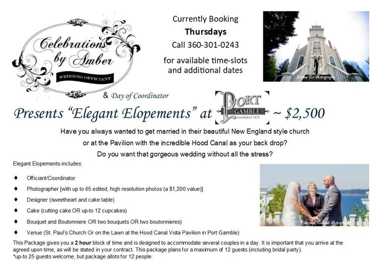 Booking Thursday afternoons and evenings! Space is limited, so book ahead. Great for your Elopement,...
