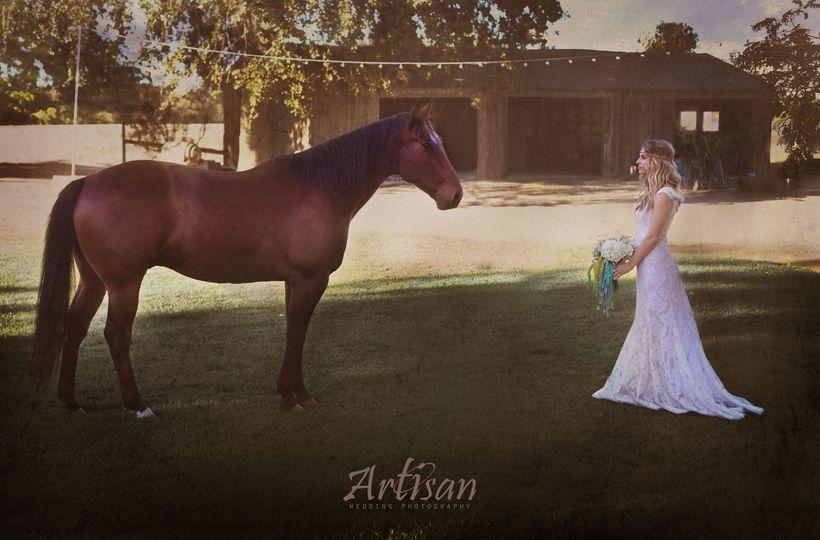 boho bride and horse