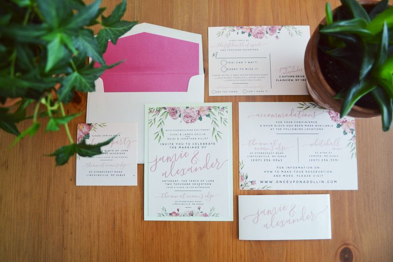 Pink and white invitations