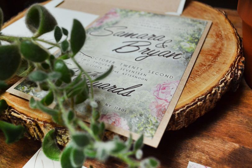 Green and pink invitation